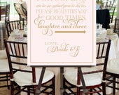 Wedding Sign, Welcome, Thank You, Printable File, Blush Pink, Gold, Calligraphy, Script