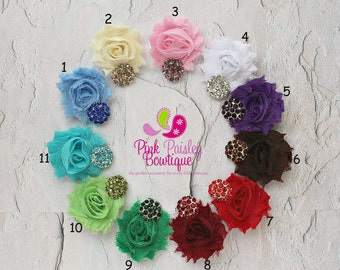Shabby Baby Hair Bows - Set of 2 Shabby Chic Clips-  Baby Hair clips - Baby Hair Bows - Infant Hair clips - Baby hair accessories