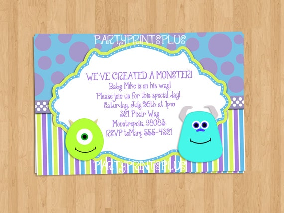 monsters inc baby shower invitations or birthday invitations