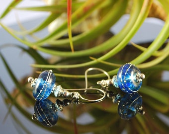 Ocean blue earrings. sterling silver earrings, lampwork earrings, SRAJD