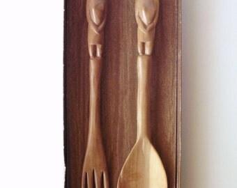 Vintage Mvule Wood Carved Fork and Spoon in Original Box, Made in Kenya