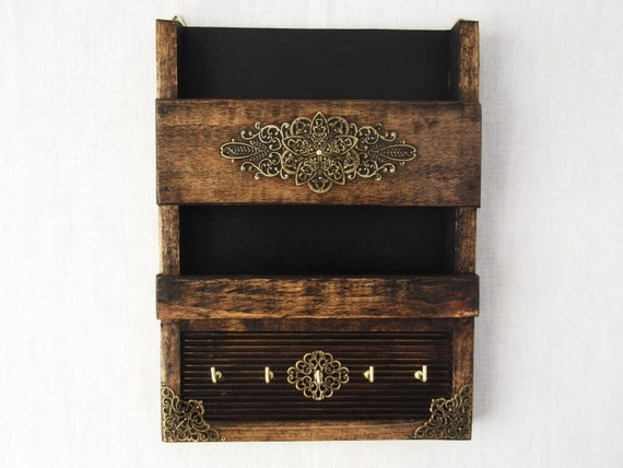 Rustic Decorative Mail Holder And Key Rack Wooden Wall
