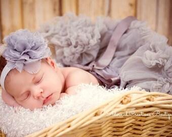 Newborn Headband, Baby Headband, Baby Girl Headband, Toddler Headband, Infant Headband, Girls Headband with Grey Flower on a Headband