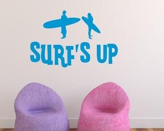 Surfs Up Decal, Vinyl Wall Decal, Surfer Silhouette, Teen Room Decal, Kids Room Decor, Beach House Decor, Surf Decor, Beach Decal 22441