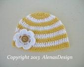Crochet Pattern 097 - Crochet Stripe Baby Hat with Detachable Flower - Newborn - Baby - Toddler - Baby Girl - Beanie Hat - Crocheted Flower