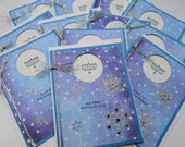 Handmade  Greeting Card Set, Holiday Stationery, Hanukkah Menorah, Sparkling Snowflake, Sky Blue and White