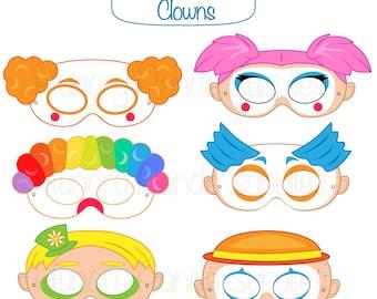 Clown Printable Masks, clown mask, clown masks, circus, clown costume, clowns masks, clown party