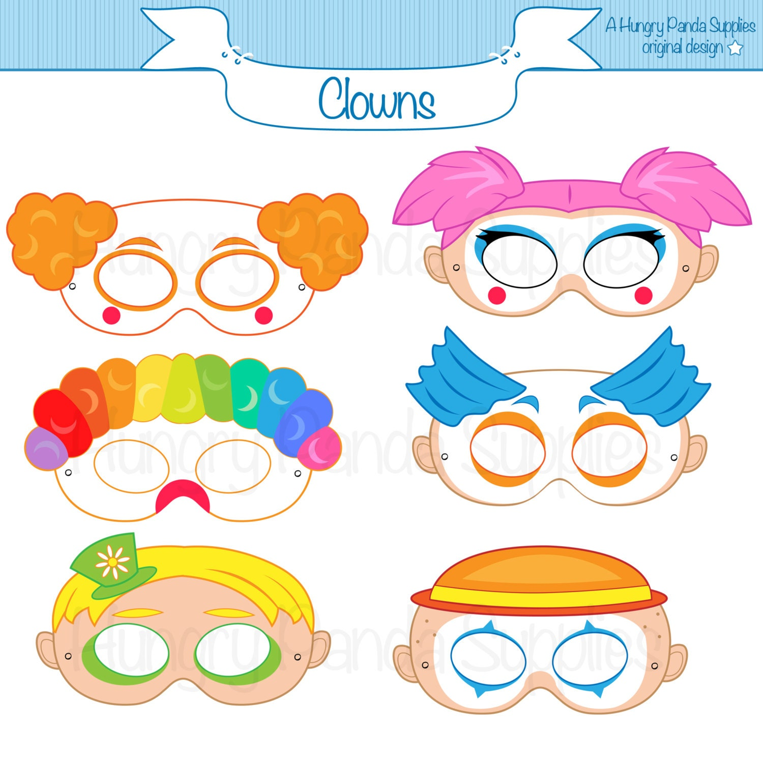clown printable masks clown mask clown masks circus clown