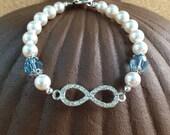 Silver Rhinestone INFINITY Pearl Bracelet - BIRTHSTONE - Swarovski Crystals & Pearls - March - Aqua - Engagement - Wedding - Any Size - USA