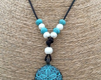 SAND DOLLAR Leather & Freshwater Pearl Necklace and Green Patina Sand Dollar Pendant - Brown Leather Shown-1-Pearl Closure-Choose Size