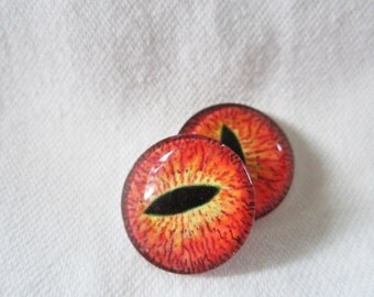 Reptile glass eyes  18mm cabochons