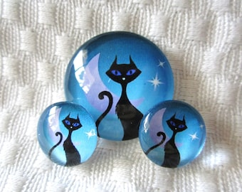 Cat cabochons for jewelry and crafts-glass cabochon set- jewelry set