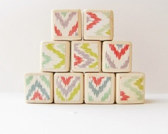 Wood Blocks. Childrens Toy. gift for baby. Ikat. Hipster Nursery Decoration. Modern. Trendy. Baby Shower gift.