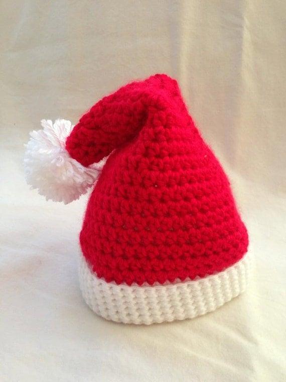 Crochet Pattern Santa Hat Baby : Crochet baby Christmas Santa Hat size newborn an adorable