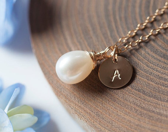 Freshwater pearl Necklace, Personalized initial stamp, Freshwater Pearl, Gold, Bridesmaid Gift, June Birthstone- Fifi LaBonge -