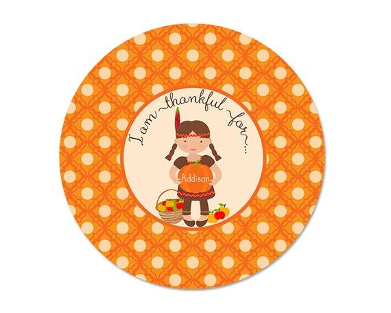 Personalized THANKSGIVING Plate, Girls, Melamine, custom by Libby Lane Press