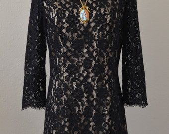 Vintage Handmade Black Lace Mini Party Dress Size Small