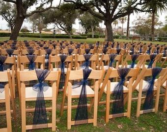 Navy Blue Organza Chair Sashes - Wedding, Pew Bows Reception Decoration