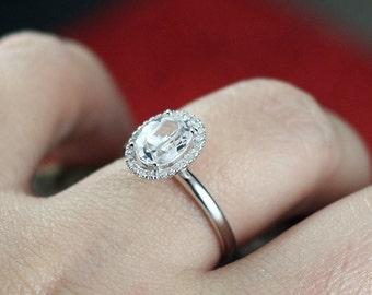White Topaz Engagement Ring Halo Diamond Allegoria Medio Plain Band Diamod Cut 2ct 8x6mm Custom Size White-Yellow-Rose Gold-10k-14k-18k-Pla