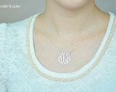 Monogram necklace - 1nch Personalized Monogram - 925 Sterling silver