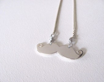 Mustache Necklace Silver Reversible