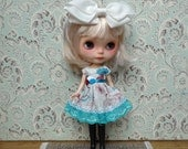 SALE % Turquoise and Burgundy Paisley Flowers Blythe Dress | Pullip Dress