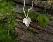 Tiny Woodland Ivy Leaf Necklace - Real Leaf Necklace - Silvan Leaf - Artisan Crafted Recycled Fine Silver