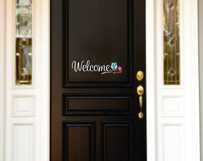 Welcome Owl Decor - Small Decal - Front Door  Owl Decal - Owl Wall Decal