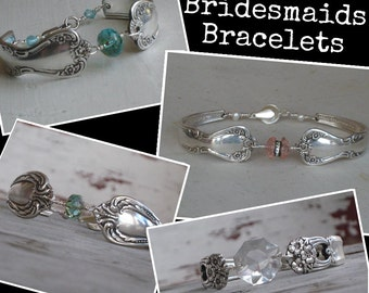 4 Bridesmaids Bracelets, Bridesmaids Gifts, Set Of 4, Bridesmaids Jewelry, Spoon Bracelets, Victorian Wedding Something Old (00584-LV)