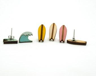 Surfboard and Wave Earring - Handmade - Jewelry - Laser Cut