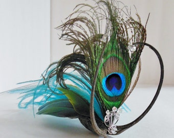 Bella Bug Whimsical Creature Clip in Turquoise and Peacock Feathers