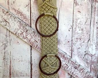 Macrame towel holder vintage belt holder, tie holder