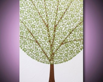 Painting Light Green Tree Flower Blossom Chartreuse Peridot Gold Acrylic Metallic 18x24 High Quality Original Modern Art