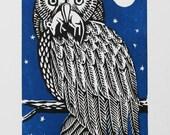 Swoop 6x8 letterpress woodcut print