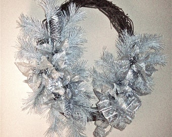 Silver Evergreens and Silver Poinsettias Large Grapevine Wreath