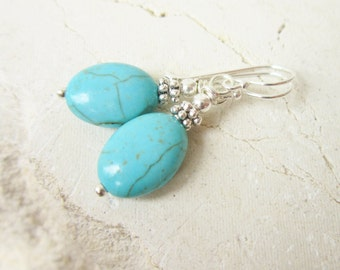 Oval Turquoise Dangle Earrings. Blue Turquoise Earrings. Howlite Stone & Silver Drop Earrings. Howlite Jewelry. Turquoise Jewelry