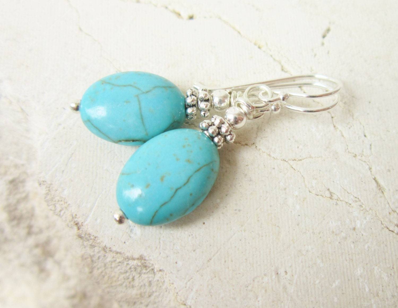 oval turquoise dangle earrings blue turquoise earrings. Black Bedroom Furniture Sets. Home Design Ideas