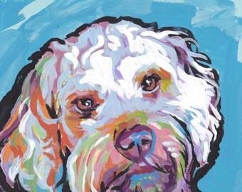 Cockapoo art print of  pop dog art painting bright colors 8x8