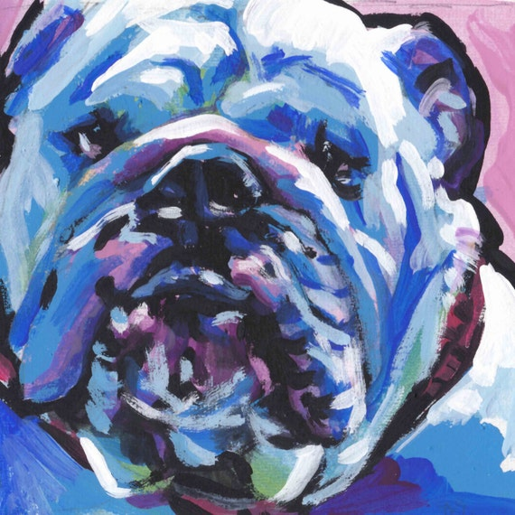 English Bulldog Dog art print from pop art painting bright