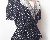 Vintage Sophisticates Petites by Jonathan Martin Polka Dot Peplum Lace Dress