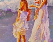 FIRST SWIM Print of Original Oil Painting, girls on beach