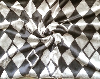 Baby Blanket Photography Prop Grey and Black Harlequin