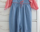 FREE SHIPPING Vintage Baby Girls Country Romper / Alexis / 12 Months