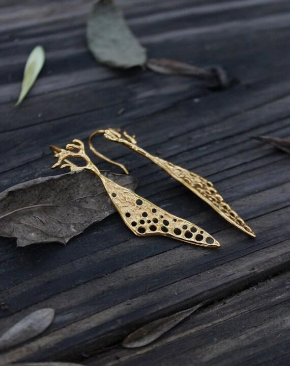 Gold Silver earrings -  24K Goldplated earrings in sterling Silver, Nature inspired, dangle & drop earring