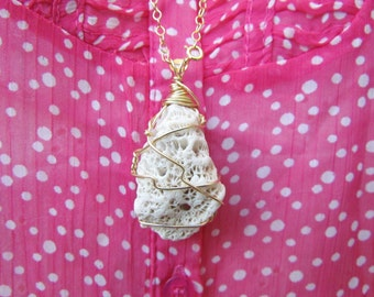 Natural White Coral Necklace. Wire Wrapped Coral Focal Pendant. Wabi Sabi Long Gold Necklace. Sponge Coral Jewelry. Eco Bohemian Necklace.