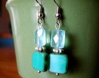 Earrings -- teal and aqua glass and quartz beads, nickel-free silver earwires