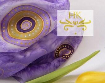 Purple Silk Scarf.Purple Scarf.Purple Yellow Shawl.Purple Silk Scarf.Lavender Scarf.Silk Gift.Silk Scarf