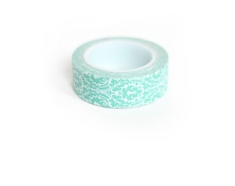 Washi Tape Mint Blue Green and White Damask Japanese Rice Paper Tape