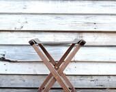 Fireside Folding Stool in Walnut and Waxed Denim