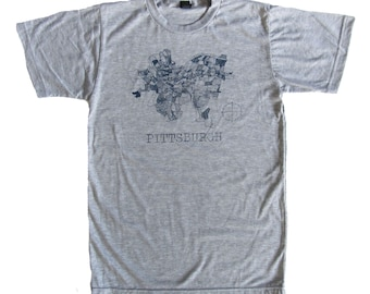 CLEARANCE: SUPER SOFT Vintage Feel Tee - Pittsburgh 1940 Map in Blue on Heather Gray Tee